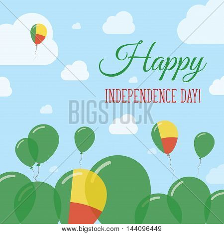 Benin Independence Day Flat Patriotic Design. Beninese Flag Balloons. Happy National Day Vector Card