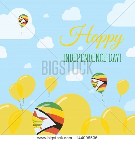 Zimbabwe Independence Day Flat Patriotic Design. Zimbabwean Flag Balloons. Happy National Day Vector