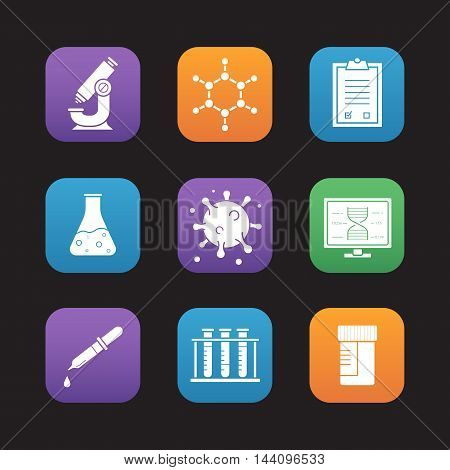 Science laboratory equipment flat design icons set. Microscope, molecule and atom structure, medical tests checklist and jar, pipette with drop, test tubes rack. Web application interface. Vector