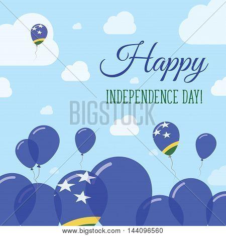 Solomon Islands Independence Day Flat Patriotic Design. Solomon Islander Flag Balloons. Happy Nation