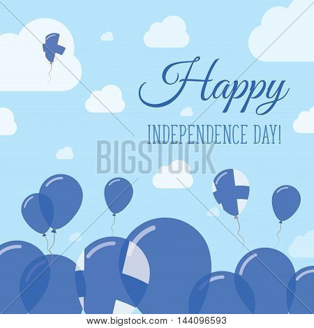 Finland Independence Day Flat Patriotic Design. Finnish Flag Balloons. Happy National Day Vector Car