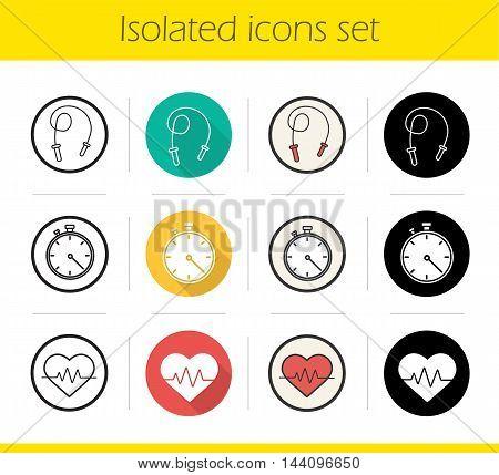 Cardio training icons set. Flat design, linear, black and color styles. Skipping rope, stopwatch and heartbeat symbols. Isolated vector illustrations