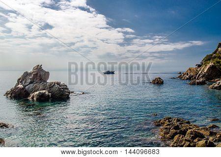 rocks in the sea near Lloret de Mar, Spain