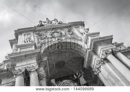 Rue Augusta arch in Commerce. Lisboa Portugal. On the arch the sculptures of Viriatus Vasco da Gama Pombal and Nuno Alvares Pereira