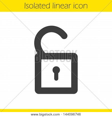 Open lock linear icon. Thick line illustration. Padlock. Unlock contour symbol. Vector isolated outline drawing