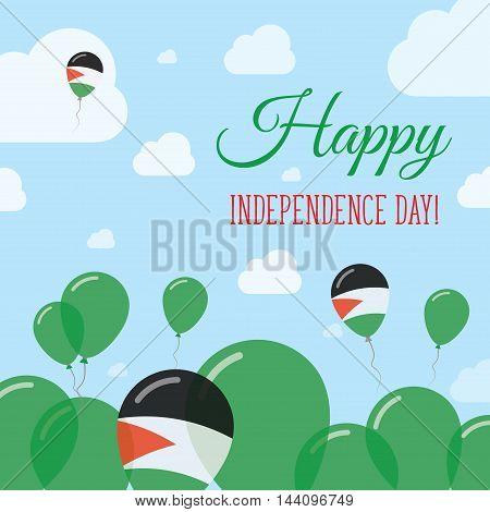 Palestine, State Of Independence Day Flat Patriotic Design. Palestinian Flag Balloons. Happy Nationa