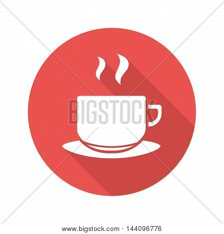 Tea cup on plate flat design long shadow red icon. Steaming coffee cup. Vector silhouette symbol