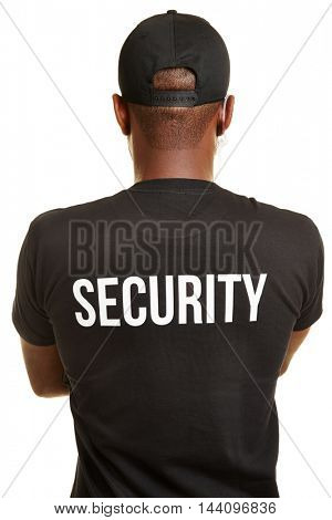 Back of doorman with security shirt and headset