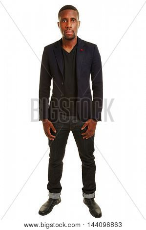 Black man as student in a full body shot isolated on white background