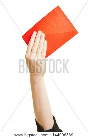 Red letter in the hand of a woman