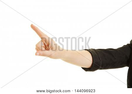 Index finger of a business woman presssing a virtual touchscreen