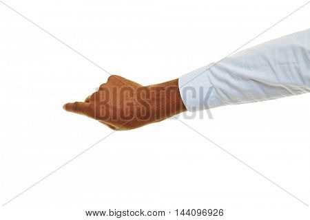 Hand of an african man pointing with index finger