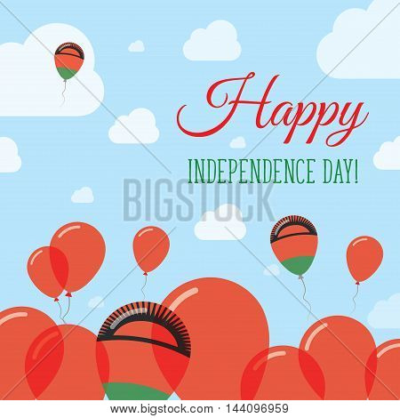Malawi Independence Day Flat Patriotic Design. Malawian Flag Balloons. Happy National Day Vector Car