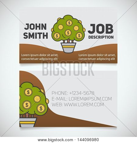 Business card print template with money tree logo. Easy edit. Manager. Businessman. Investor. Stationery design concept. Vector illustration