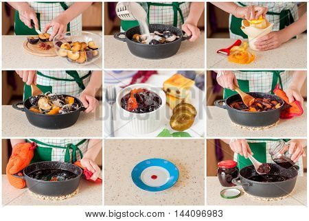 A Step by Step Collage of Canning Oven Baked Plum and Orange Jam