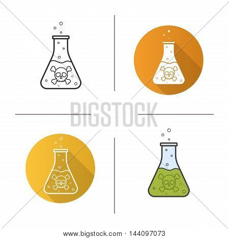 Poison icon. Flat design, linear and color styles. Beaker with green liquid. Flask with crossbones sign and bubbles. Isolated vector illustrations