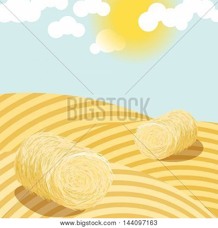 Hay bales on rural field on a sunny day illustration. Straw bales on wheat country fields. Agriculture landscape.