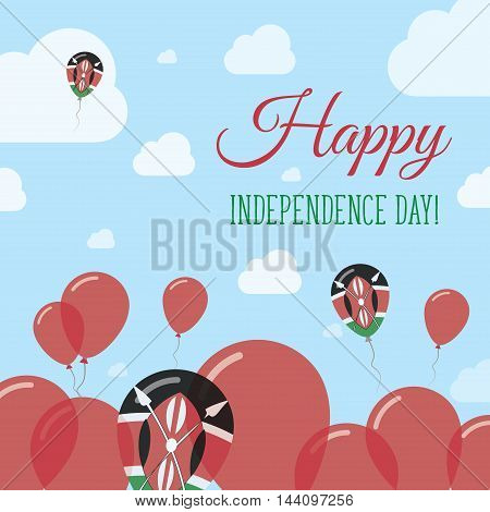 Kenya Independence Day Flat Patriotic Design. Kenyan Flag Balloons. Happy National Day Vector Card.