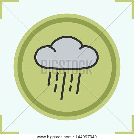Rain cloud color icon. Vector isolated illustration. Gray cloud with rain drops weather symbol