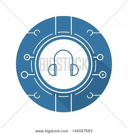 Digital music icon. Drop shadow silhouette pictogram. Online music listen symbol. Headphones with microchip pathways. Vector isolated illustration