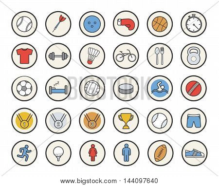 Active sport games color icons set. Gold, silver, bronze medals and winner cup. Boxing glove and gym workout symbols. American football and soccer balls. Logo concepts. Vector isolated illustrations
