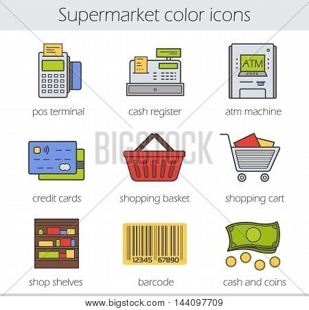 Supermarket color icons set. Grocery store. Pos terminal, cash register, atm machine, credit card, shopping basket and cart, shop shelves, barcode, cash and coins. Vector isolated illustrations