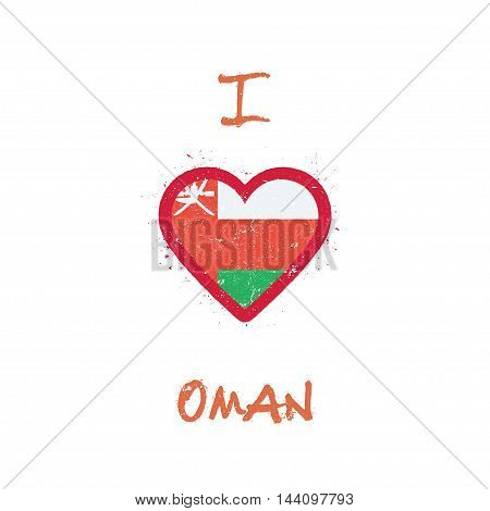 I Love Oman T-shirt Design. Omani Flag In The Shape Of Heart On White Background. Grunge Vector Illu