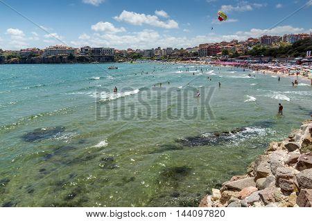 Panoramic view of central beach of Sozopol, Burgas Region, Bulgaria