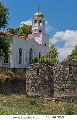 Church of St. Cyril and St. Methodius and ancient ruins in Sozopol town, Bulgaria