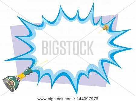 Bottle of Champagne opened with cartoon flash over a light purple quadrangle in cartoon vector background illustration.