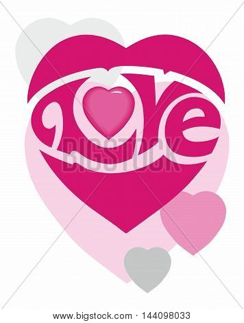 Pink heart with cursive embedded Love logo with scattered pastel hearts in grey and pink.