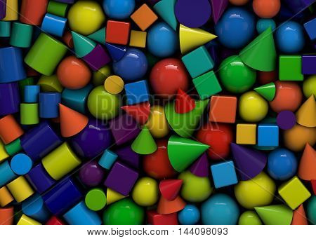 3d illustration texture with shiny geometric shapes cones cubes and spheres