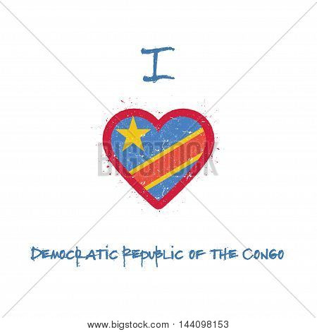 I Love Congo, The Democratic Republic Of The T-shirt Design. Congolese Flag In The Shape Of Heart On