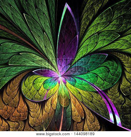 Asymmetrical fractal flower in stained-glass window style.
