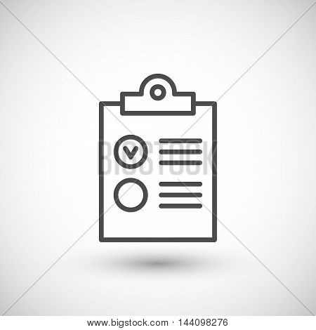 Checklist line icon isolated on grey. Vector illustration