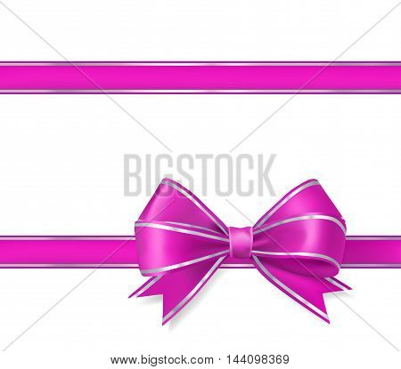 pink bow ribbon on white. vector illustration