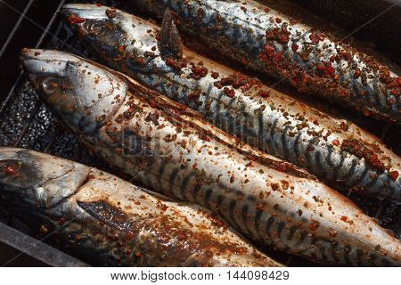 Mackerel cooked on the grill. Tasty and fresh food picnic outdoor recreation. Grilled fish dish.