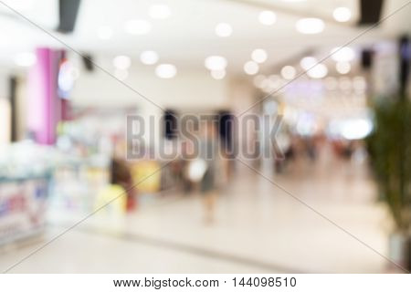 Supermarket store blur background with bokeh .