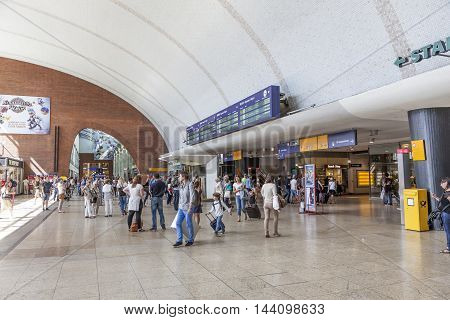 COLOGNE GERMANY - AUG 7 2016: Interior of the main train station in the city of Cologne. North Rhine-Westphalia Germany
