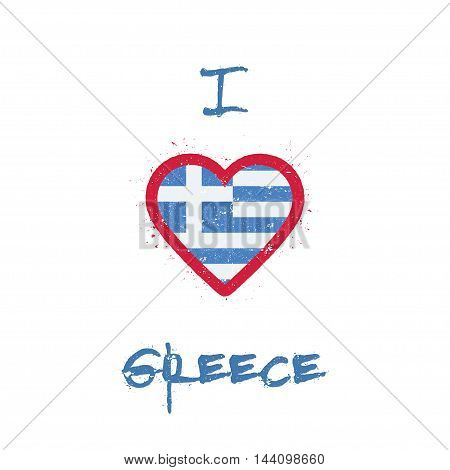I Love Greece T-shirt Design. Greek Flag In The Shape Of Heart On White Background. Grunge Vector Il