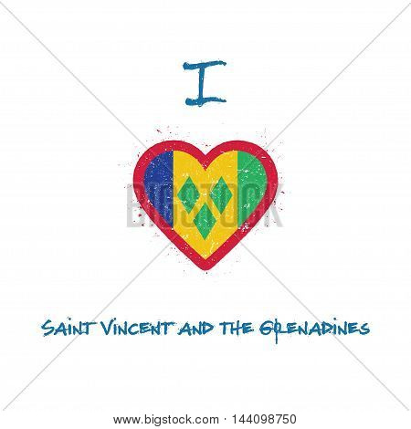 I Love Saint Vincent And The Grenadines T-shirt Design. Saint Vincentian Flag In The Shape Of Heart