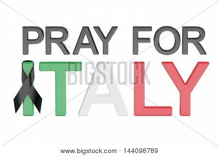 Pray for Italy concept 3D rendering isolated on white background