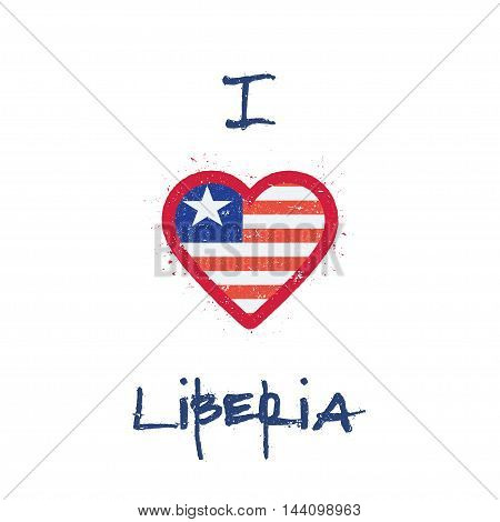 I Love Liberia T-shirt Design. Liberian Flag In The Shape Of Heart On White Background. Grunge Vecto