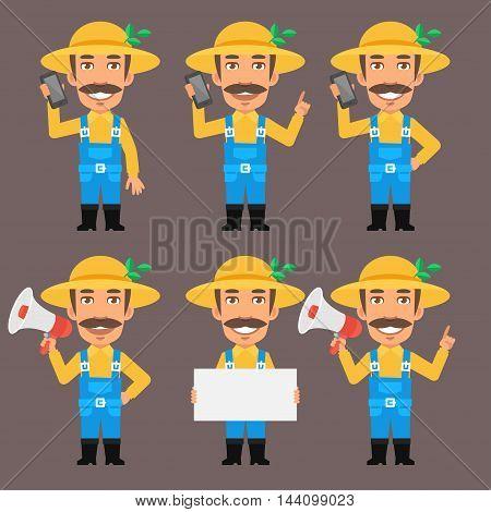 Vector Illustration, Farmer Holds Paper Megaphone Phone Format EPS 8