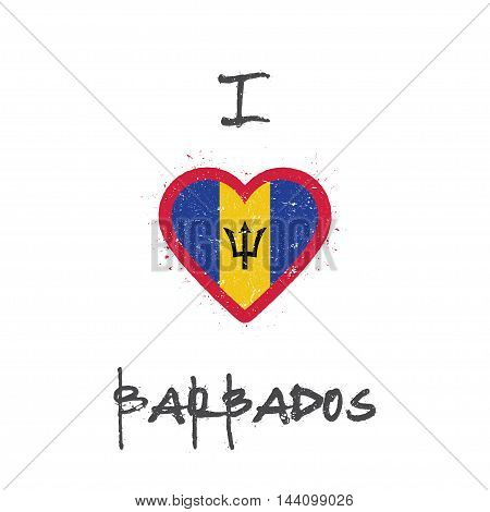 I Love Barbados T-shirt Design. Barbadian Flag In The Shape Of Heart On White Background. Grunge Vec