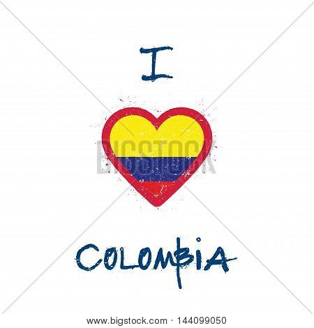 I Love Colombia T-shirt Design. Colombian Flag In The Shape Of Heart On White Background. Grunge Vec