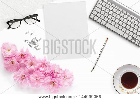 Pretty Styled Desktop Mockup flat lay stock photography white background notepaper great for lifestyle bloggers and small businesses