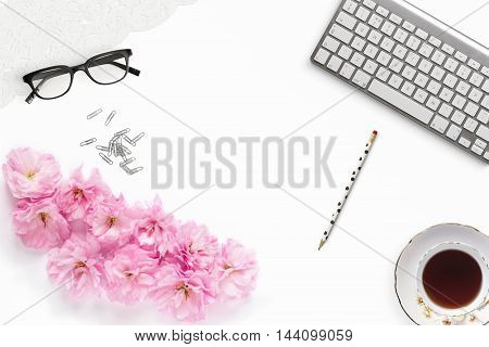 Pretty Styled Desktop Mockup flat lay stock photography white background copy space great for lifestyle bloggers and small businesses