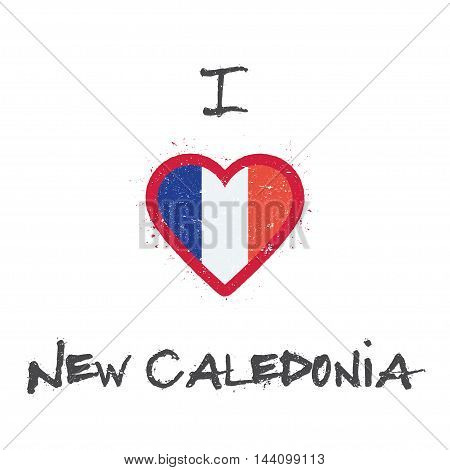 I Love New Caledonia T-shirt Design. New Caledonian Flag In The Shape Of Heart On White Background.