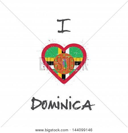 I Love Dominica T-shirt Design. Dominican Flag In The Shape Of Heart On White Background. Grunge Vec